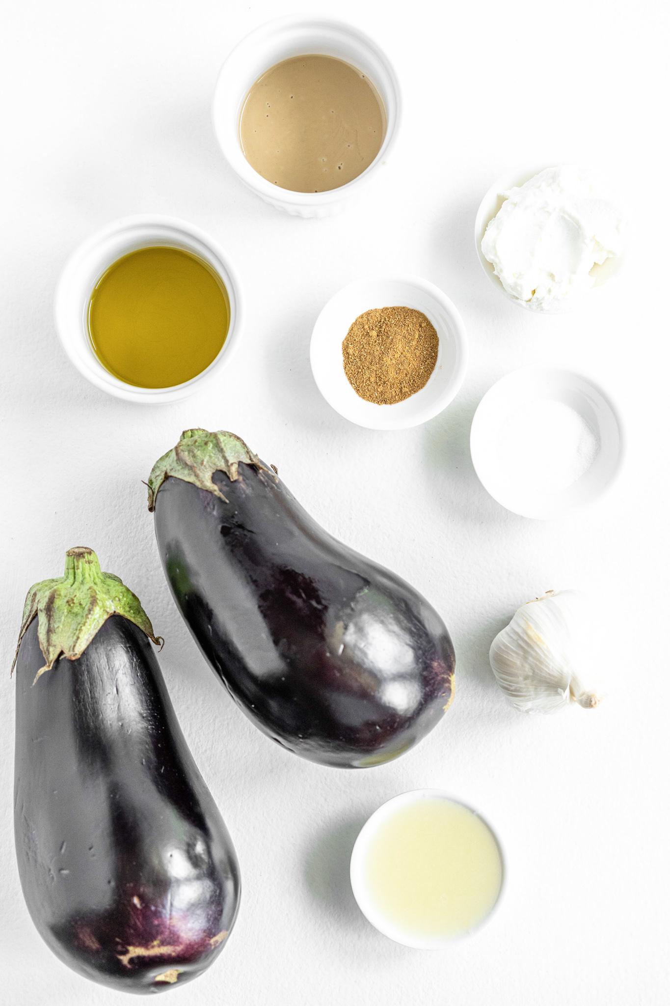 Baba Ghanoush ingredients.