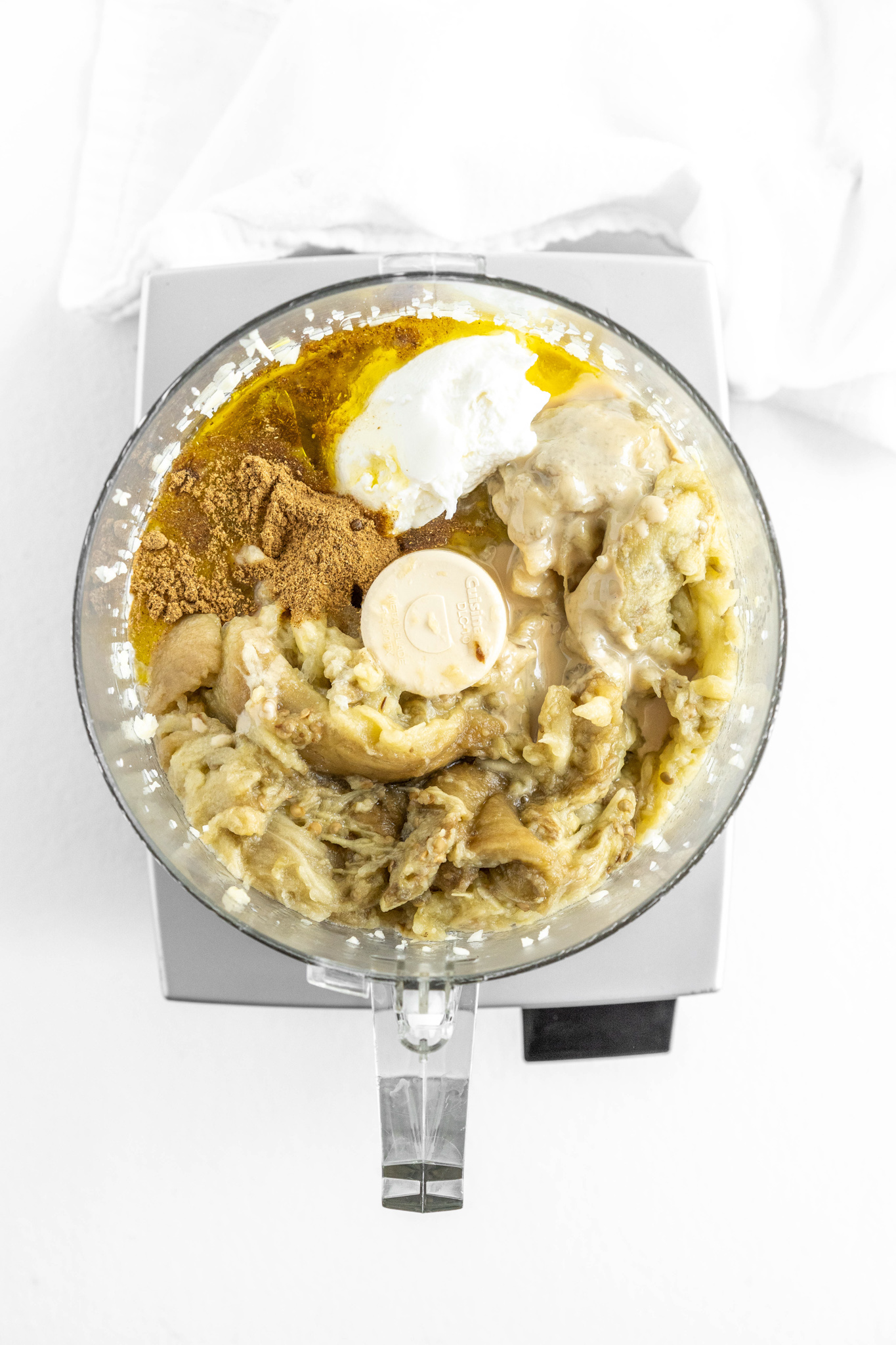 Baba Ghanoush in a food processor.