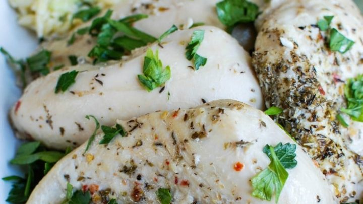 Greek Chicken with Tzatziki Orzo Salad is a light, healthy meal. The perfect family dinner!