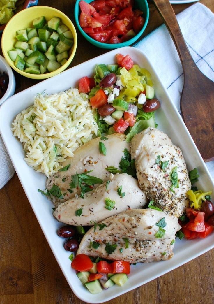 Greek Chicken with Tzatziki Orzo Salad with orzo salad.