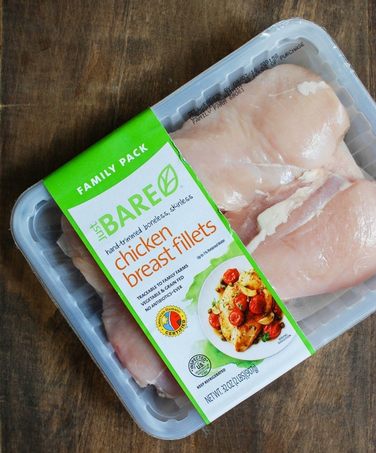 Just BARE Chicken is antibiotic free and humanely raised. A great option for family dinner.