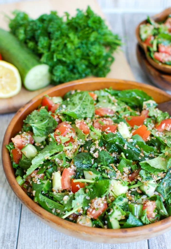 Kale Cucumber Tabbouleh with Tomatoes