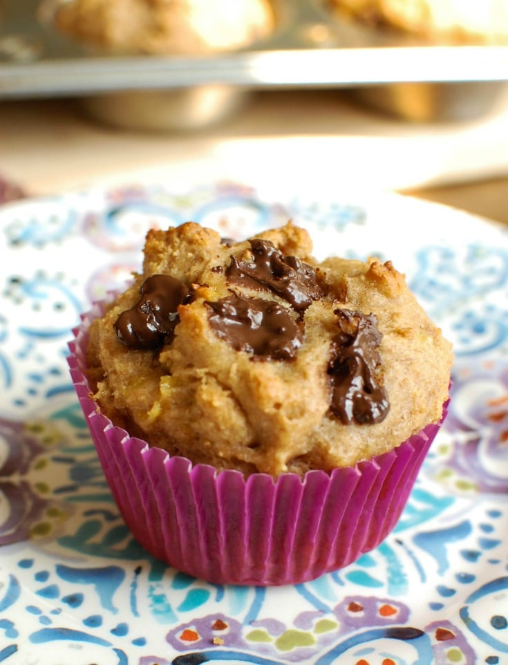 Peanut Butter Banana Muffins are a healthy snack, perfect for kids! These muffins are filled with creamy peanut butter, bananas, honey and Greek yogurt creating a soft, flavorful muffin. Add chocolate chips for an extra special treat!