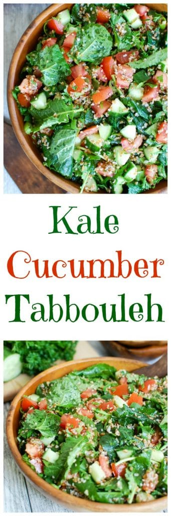 Kale Cucumber Tabbouleh is a fresh summer salad. This comes together in no time!