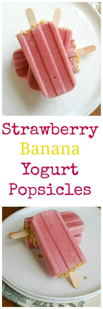 Strawberry Banana Yogurt Popsicles are a sweet summer treat. These are perfect for the kids!