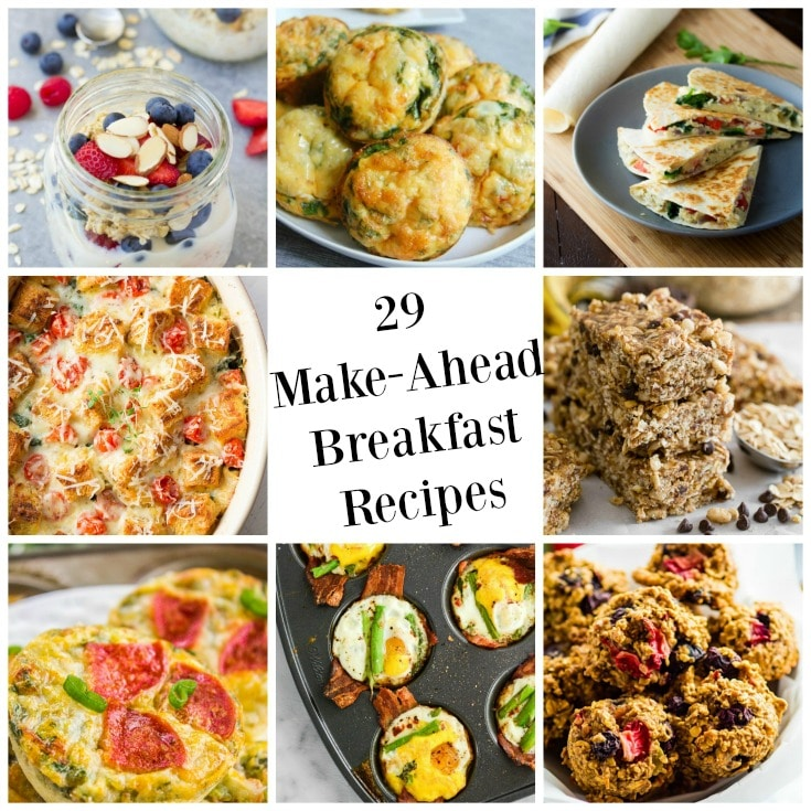 29 Make-Ahead Breakfast Recipes are perfect for busy school mornings. These are healthy, quick options.