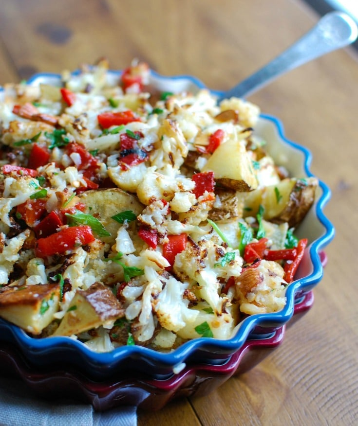 Cauliflower Pepper Potato Salad a sweet and smokey sauce pairs wonderfully with roasted cauliflower and potatoes.