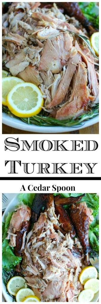 This Smoked Turkey recipe uses simple ingredients. Turkey is slowly smoked creating a crispy skin, tender inside and tons of flavor. If you are looking for a fun, new way to cook your Thanksgiving or Christmas turkey, look no further!