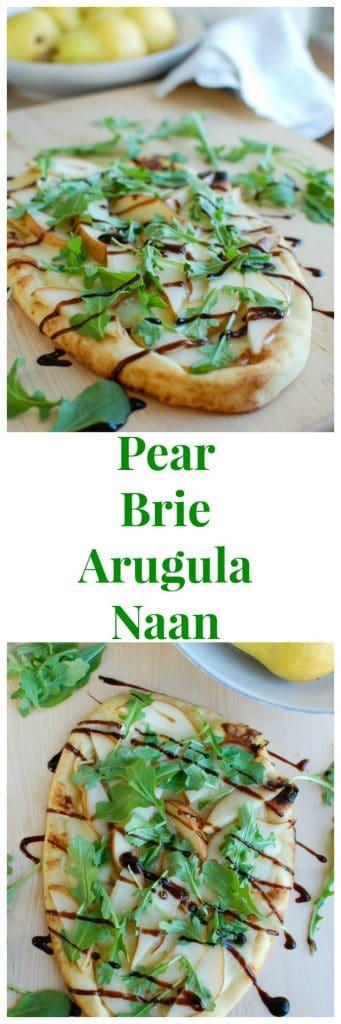 Warm Pear Brie Arugula Naan