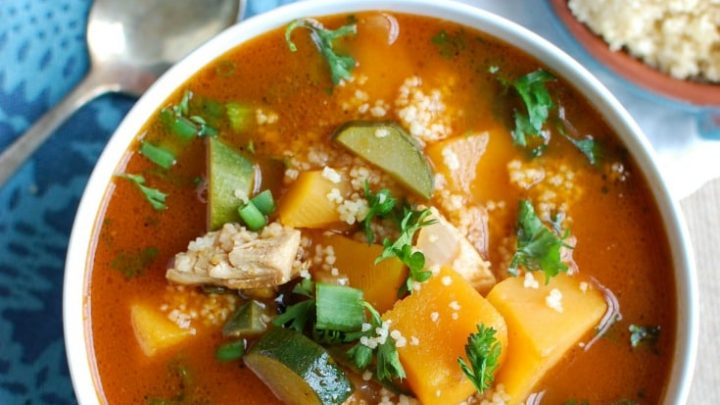 Moroccan Butternut Chicken Soup is rich with flavor and spices. Chicken, butternut squash and zucchini come together nicely with the spices and couscous for added texture. Garnish your soup with parsley, lemon wedges, crushed red pepper and feta cheese for extra flavor!