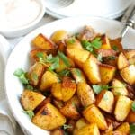 Paprika Roasted Potatoes with Spiced Yogurt Sauce