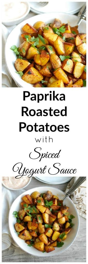 My favorite thing about these potatoes is the smoked paprika. I love the smoky flavor that roasting the potatoes brings out. Once you roast these potatoes and they are nice and crispy I like to sprinkle some fresh parsley on top and serve them warm with the dipping sauce. These are always a huge hit with guests and my family goes crazy for them.