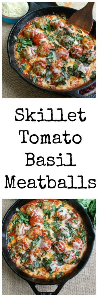 This Skillet Tomato Basil Meatballs is warm, cheesy and the perfect appetizer for a party, game day or for your family to enjoy. Tomato basil meatballs are cooked in a rich tomato sauce and topped with gooey, warm cheese and fresh basil. Pair it with warm baguette to create the perfect bite sized appetizer!