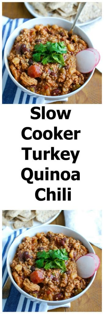 Slow Cooker Turkey Quinoa Chili is hearty, healthy and cooks all day in your crockpot! You can come home to a warm, comforting bowl of chili without spending time in the kitchen. This is perfect for dinner or watching football!