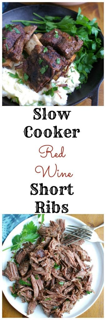 Slow Cooker Red Wine Short Ribs are fall off the bone tender, juicy and full of flavor. These short ribs make the perfect romantic dinner paired with your favorite mashed potatoes and fresh vegetables. The shredded short rib meat also works great in tacos, burrito bowls or in pasta sauces.