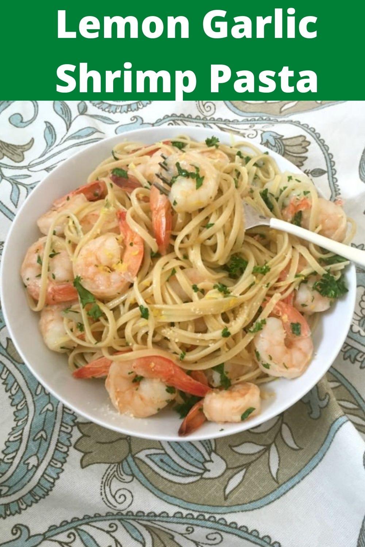 Lemon Garlic Shrimp Pasta with spoon