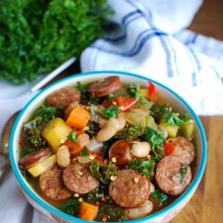 Slow Cooker Sausage Kale White Bean Soup