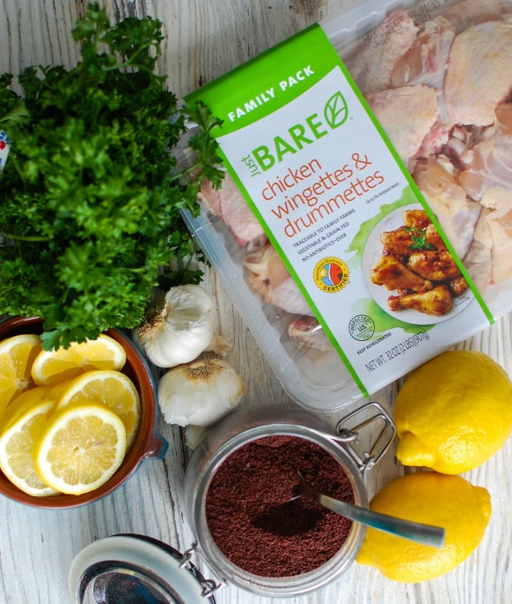 Sumac Lemon Baked Chicken Wings are baked to perfection- creating crispy, juicy chicken wings. These wings are tart, sweet and lemony, the perfect mix of flavors to pair with creamy hummus or a yogurt dipping sauce and a fresh salad.