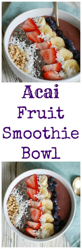 Start your day with a beautiful and delicious Acai Fruit Smoothie Bowl. Acai is blended with milk or your favorite dairy alternative, frozen fruit, chia seeds and topped with your favorite smoothie down toppings including chia seeds, fresh fruit, shredded coconut and granola.