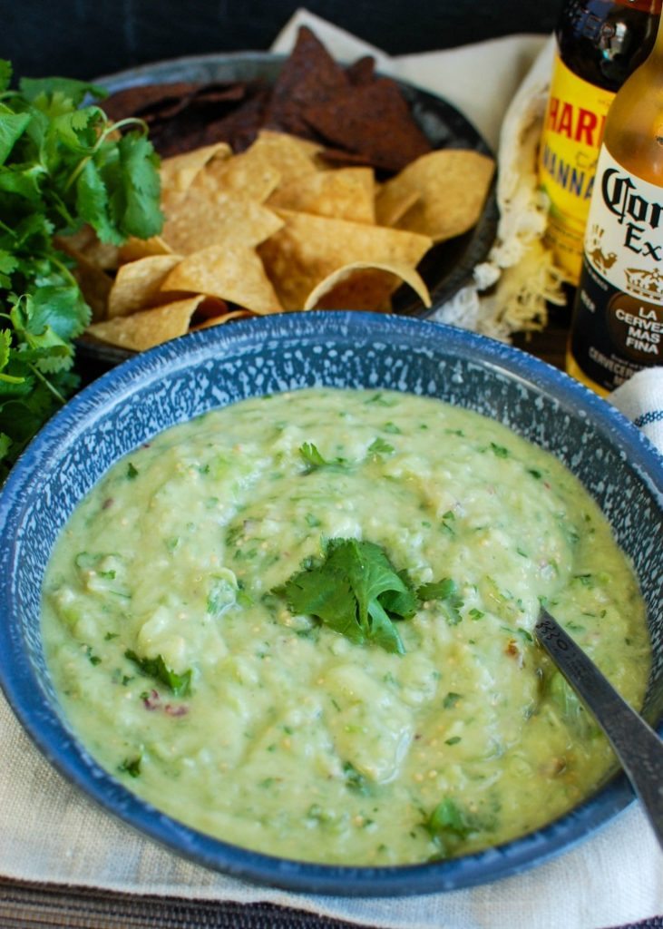 Avocado Tomatillo Salsa with spoon