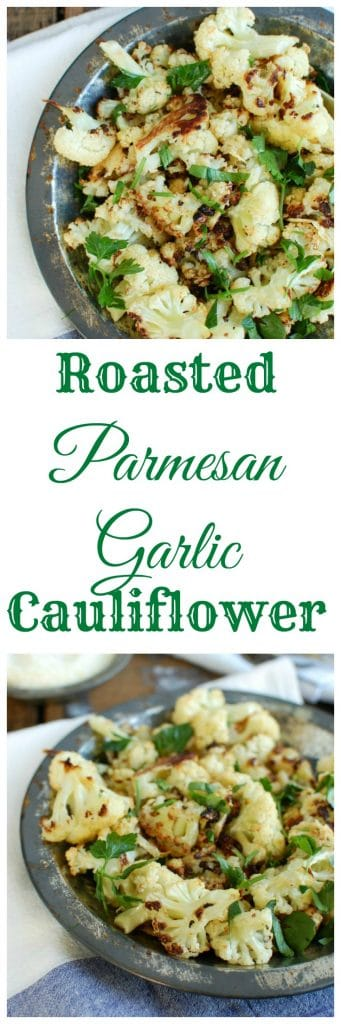 Roasted Parmesan Garlic Cauliflower is easy to make! This side dish adds so much flavor to your weeknight meals.