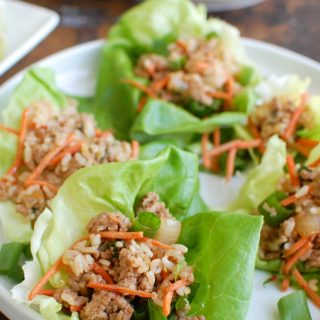 Asian Pork Lettuce Wraps are packed with your favorite Asian flavors and paired with ground pork, topped with cilantro and matchstick carrots and served in soft bibb lettuce wraps. These are light and the perfect easy meal!