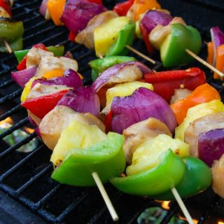 Hawaiian Chicken Kabobs on skewers