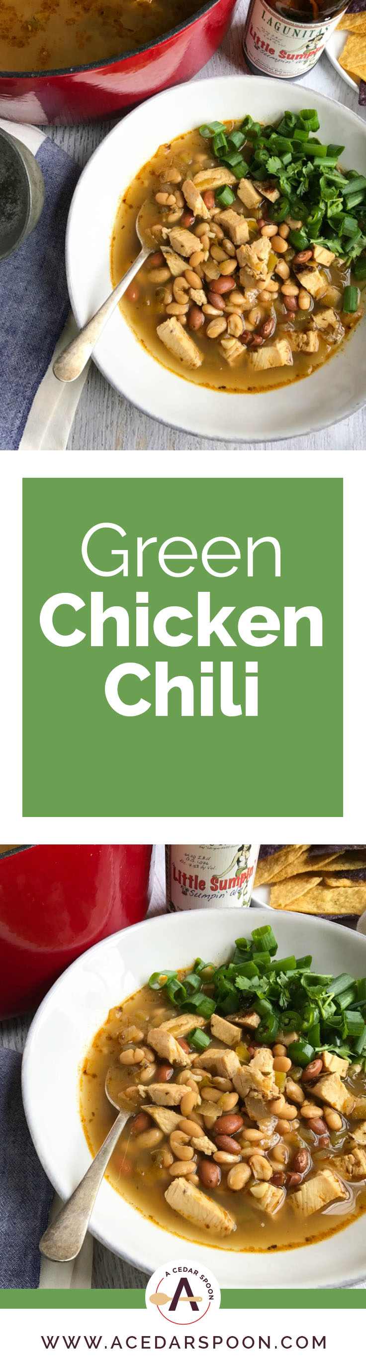 Green Chicken Chili a nice chili to make in the warmer months. It is a bit lighter than traditional chili, yet packed with protein to keep your energy up on those busy days. This chili uses chicken, green chilies, pinto and white beans, chicken broth, spices and a can of beer to create a flavor packed bowl of soup.