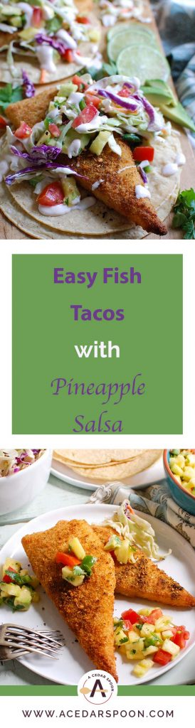 asy Fish Tacos with Spicy Pineapple Salsa is a quick and easy meal that doesn't lack flavor! These are the perfect way to mix up taco night with baked breaded cod tacos topped with a spicy pineapple salsa and a spicy slaw.