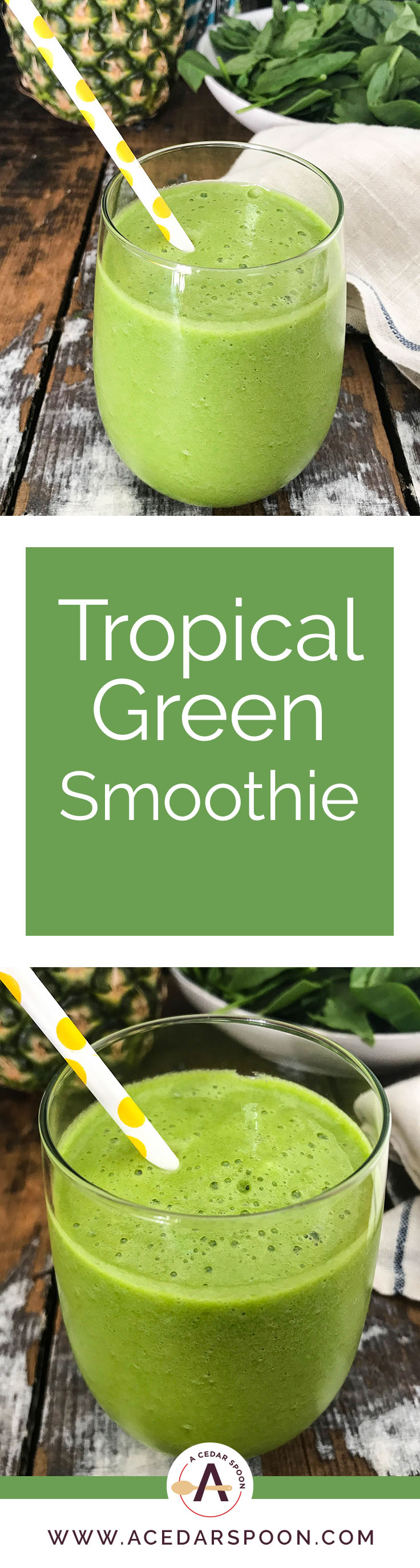 This Tropical Green Smoothie is the perfect summer smoothie mixing a granny smith apple, fresh spinach, mint and frozen pineapple. You will get a good dose of your fruits and vegetables, while feeling refreshed on a hot summer day.