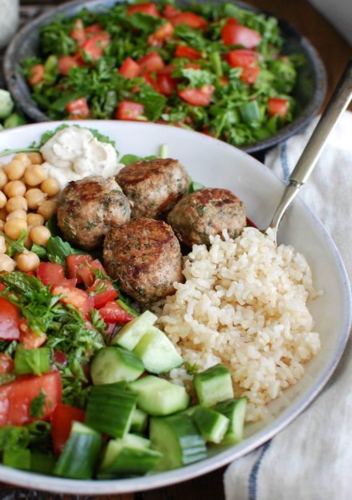 Mediterranean Baked Turkey Meatballs in bowl