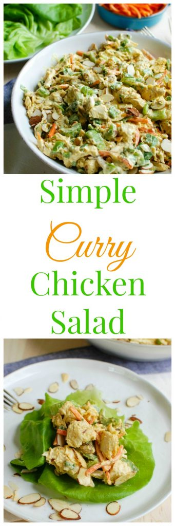 Simple Curry Chicken Salad is a lightened up version of classic chicken salad with rich, warm curry added in. Shredded chicken is mixed together with Greek yogurt, mayonnaise, honey and curry and then combined with golden raisins, shredded carrots, chopped celery, fresh green onion and parsley. This is a nice option for a picnic, weekly lunches or a shower or brunch!