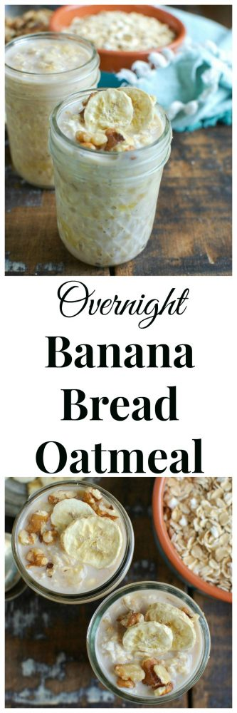 Put your Overnight Banana Bread Oatmeal in the fridge overnight and wake up to a delicious, healthy breakfast. Oats are soaked in milk and mixed with mashed bananas, honey and vanilla and topped with cinnamon, walnuts and freeze dried bananas.