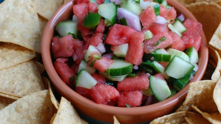 5 Ingredient Watermelon Salsa is a simple summer salsa using fresh watermelon, cucumber, red onion, cilantro and lime juice to create the perfect snack with chips or addition to grilled chicken or fish. Your guests will love this one!