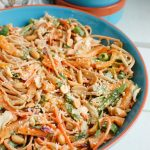 Asian Vegetable Noodle Salad with Spicy Peanut Sauce is a vegetable packed pasta salad that is the perfect summer dish. This salad has a little kick to it and is very customizable to your guests tastes!