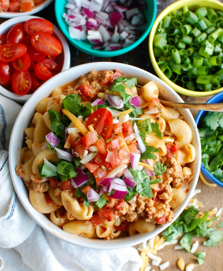 Instant Pot Turkey Taco Pasta is a zesty meal that the whole family will love. This meal cooked in no time when using your Instant Pot or pressure cooker. The ground turkey, taco seasoning, fired roasted tomatoes paired with pasta make this a fun alternative to taco night.