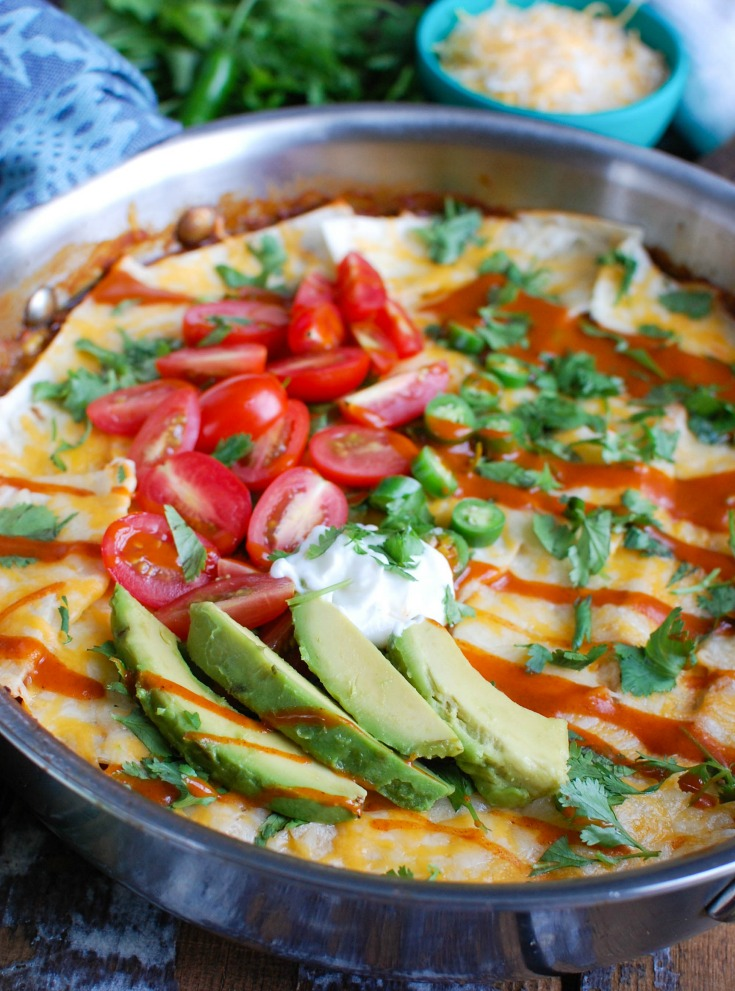 One Pot Beef Enchilada Casserole cooks in one pot to make the perfect quick and easy meal for back-to-school and those busy weeknights. It takes your favorite enchiladas and creates a casserole with ground beef, enchilada sauce, tortillas, vegetables and cheese. The kids and adults gocrazy for this!