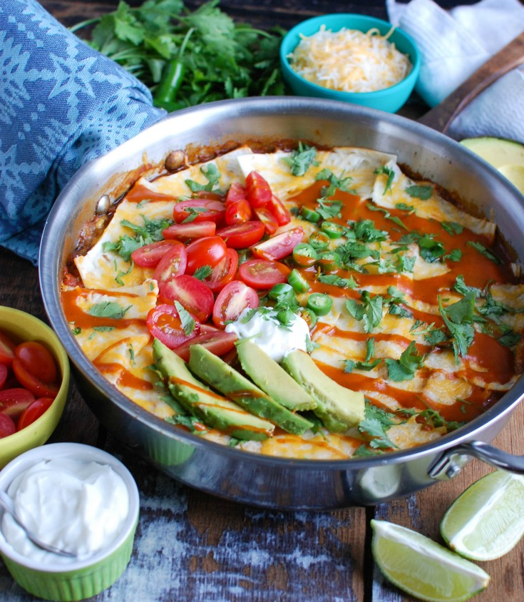 Beef Enchilada Casserole with sour cream