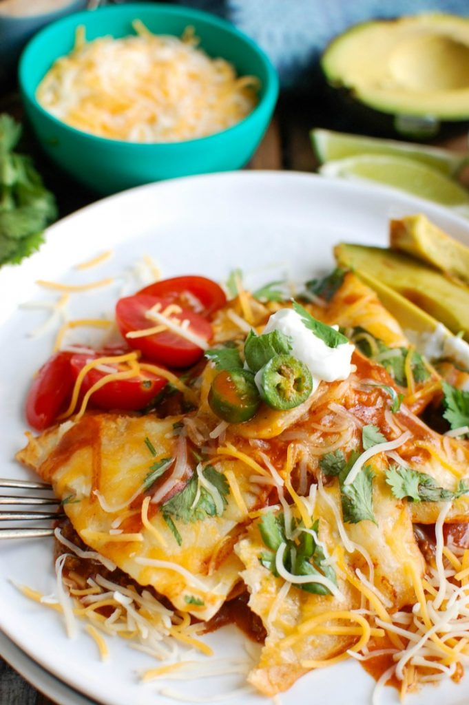 Beef Enchilada Casserole with a fork