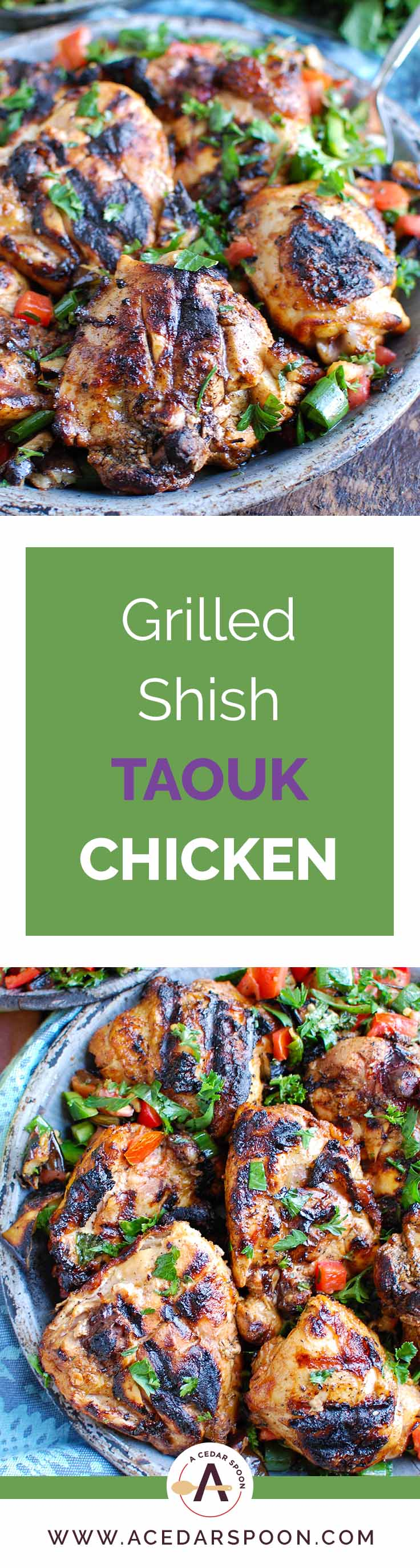 Shish Taouk Chicken Thighs with Mediterranean Eggplant Salad