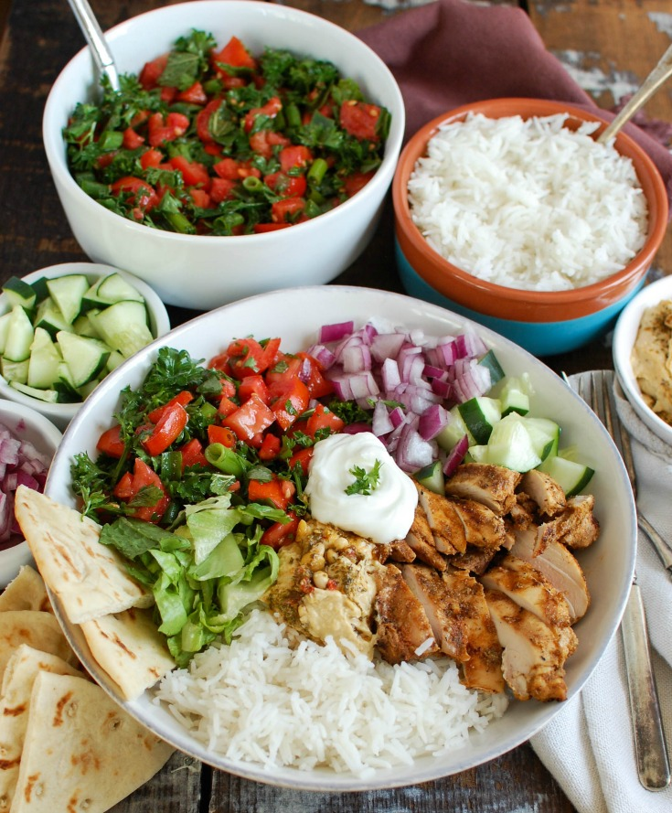 Chicken Shawarma Recipe in rice bowl