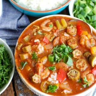 Crock-Pot® Jambalaya Soup is rich with flavor and spice and packed with delicious New Orleans flavors. Chicken, andouille sausage and shrimp are simmered in a cajun spiced tomato broth and served with rice. This is comforting and a great meal to share with others!