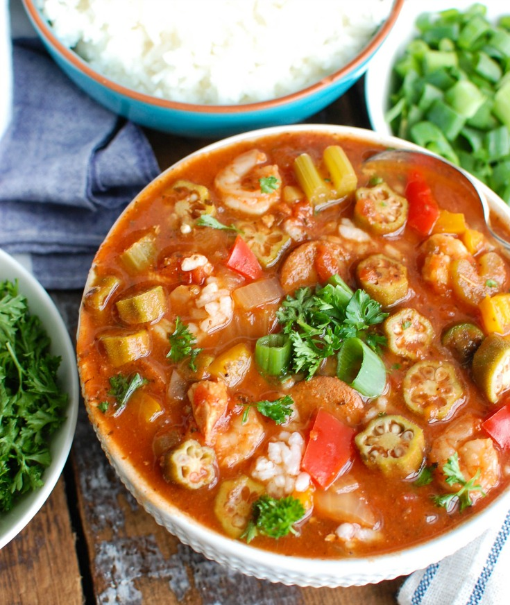 Crock-Pot® Jambalaya Soup is rich with flavor and spice and packed with delicious New Orleansflavors. Chicken, andouillesausageand shrimp aresimmered in a cajun spiced tomato broth and served with rice. This iscomforting and a great meal to share with others!