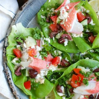Mediterranean Surimi Lettuce Wraps are an easy, healthy meal mixing Surimi and your favorite Mediterranean flavors in a lettuce wrap. These are a low-carb, no-fuss way to enjoy a meal.