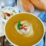 Slow Cooker Butternut Squash Apple Soup is a creamy fall soup that will warm you up. Butternut squash, apples and spices simmer in the crockpot to create an easy meal that is healthy and makes a nice lunch or addition to a dinner.
