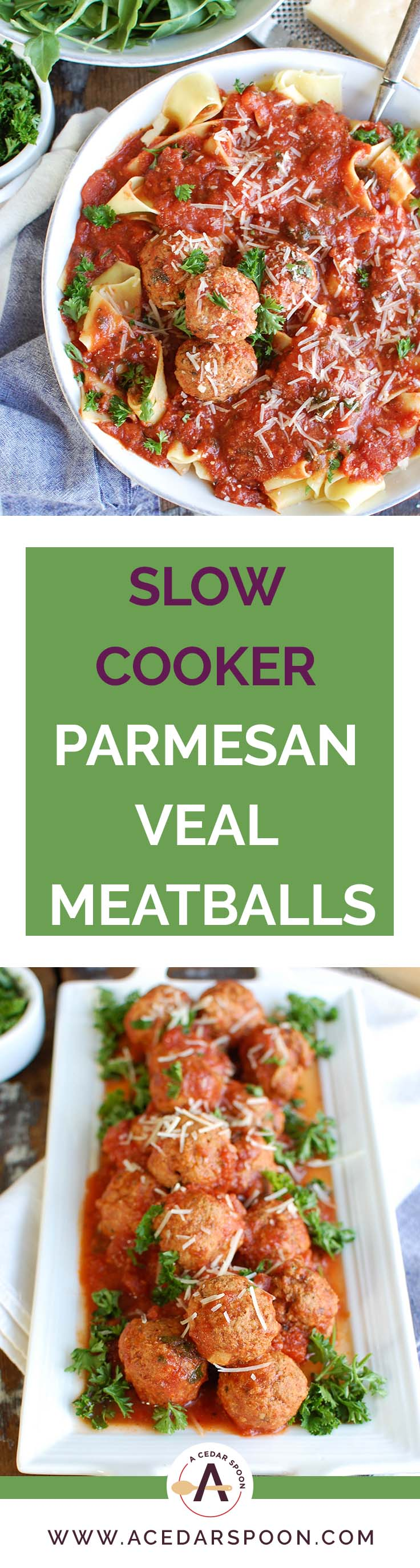 Slow Cooker Veal Parmesan Meatballs are tender meatballs that simmer in a rich tomato sauce and create a hearty, delicious meal perfect for a weeknight meal or a special occasion. Veal is lean and rich in nutrients and high in protein, making it a nice option!