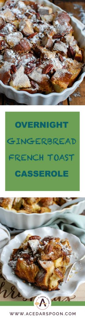 Wake up to the smell of a warm Overnight Gingerbread French Toast Casserole during the holiday season. Prepare this casserole the night before and pop it in the oven the next morning. This is the perfect way to celebrate the holidays with company or your family.