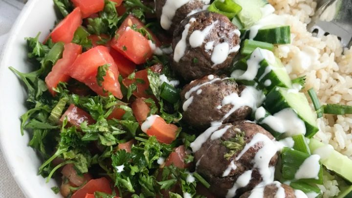 Beef Kafta Meatballs with a spoon