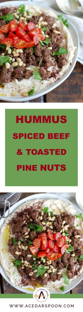 Hummus with Spiced Beef and Toasted Pine Nuts is an easy appetizer, lunch or dinner featuring creamy hummus topped with warm, spiced beef, toasted pine nuts, freshly chopped tomatoes and parsley. It is gluten-free and full of protein.