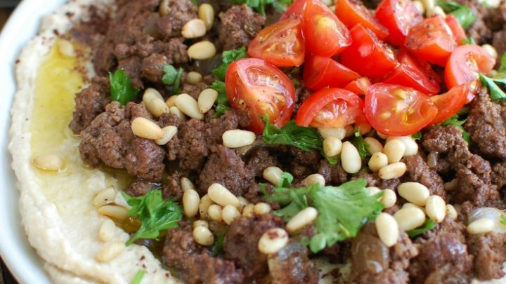 Hummus with Spiced Beef and Toasted Pine Nuts